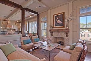 Contemporary Living Room with Pendant light, Columns, Exposed beam, Hunter douglas parkland reflections horizontal blinds