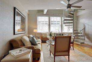 Eclectic Living Room with double-hung window, Exposed beam, Hardwood floors, Standard height, Ceiling fan