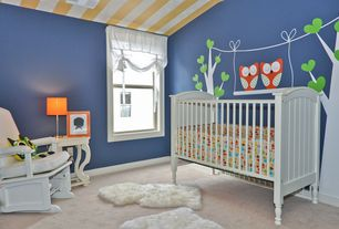 Contemporary Kids Bedroom with High ceiling, Shear Style Natural Single Sheepskin Area Rug, Asher Crib, Mural, Carpet