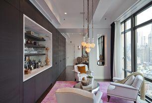 Contemporary Bar with Pendant light, Exposed beam, Built-in bookshelf, Hardwood floors