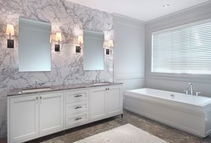 Contemporary Master Bathroom with stone tile floors, drop in bathtub, Double sink, Master bathroom, Paint, can lights