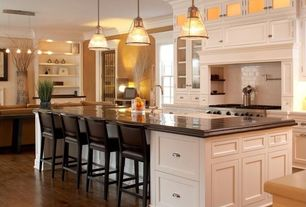 Traditional Kitchen with Pendant light, L-shaped, Soapstone counters, Birch - Glazed Woodland 3 in. Engineered Hardwood Plank