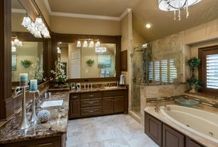Traditional Master Bathroom with frameless showerdoor, Complex Marble, Built-in bookshelf, Master bathroom, Inset cabinets