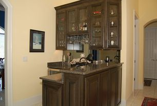 Traditional Bar with stone tile floors, partial backsplash, Paint 1, Standard height, Simple granite counters, Glass panel