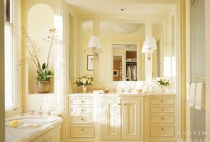 Traditional Full Bathroom with Inset cabinets, Standard height, Flat panel cabinets, frameless showerdoor, Limestone, Shower