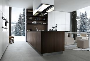 Contemporary Kitchen with Comfort Square Arm Slipcovered Chair, Flush, Destiny: slab cabinets, Breakfast nook, L-shaped