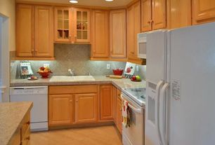 Traditional Kitchen with Glass panel, Hardwood floors, Stone Tile, Kitchen island, simple granite tile counters, L-shaped