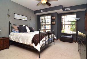 Contemporary Master Bedroom with Carpet, Wall sconce, Ceiling fan