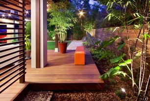 """Asian Deck with Scotts Eathgro 2 cu. ft. Brown Mulch, Pavilion wood decking - exotic ipe / 2""""x2"""" / 3' to 6' / solid, Fence"""