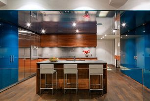 Contemporary Kitchen with U-shaped, Kitchen island, Flush, Breakfast bar, Limestone Tile, Undermount sink, European Cabinets
