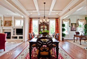 Traditional Dining Room with Crown molding, Box ceiling, Designers Fountain Barcelona 6 Light Chandelier with Ochere Glass