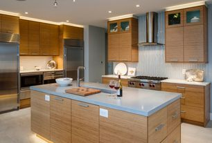 Contemporary Kitchen with European Cabinets, Simple marble counters, flush light, Undermount sink, Flush, Formica counters