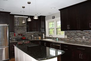 Contemporary Kitchen with L-shaped, flush light, Limestone counters, Flush, European Cabinets, Pendant light, Hardwood floors