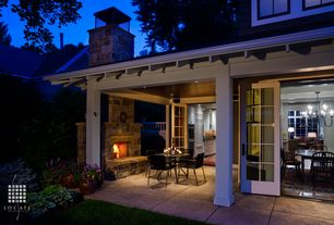 Craftsman Porch with French doors, Covered patio, Screened porch, outdoor pizza oven, Concrete tile , Wood paneled ceiling