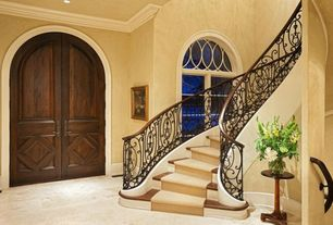 Mediterranean Staircase with High ceiling, simple marble floors, curved staircase, Arched window, Casement