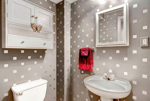 Contemporary Powder Room with Standard height, wall-mounted above mirror bathroom light, interior wallpaper, Powder room
