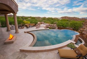 Mediterranean Swimming Pool with Pathway, Fire pit, Fence, Outdoor kitchen, exterior stone floors