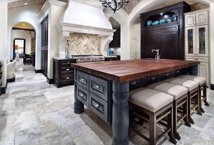 "Mediterranean Kitchen with John Boos Blended Walnut 25"" Deep Kitchen Counter Top 1-1/2"", slate tile floors, Undermount sink"