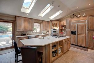 """Traditional Kitchen with Lowe Onyx 24"""" Leather Counter Stool, Raised panel, Breakfast bar, Skylight, Crown molding, L-shaped"""