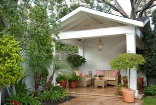 Traditional Porch with exterior terracotta tile floors, Pathway, exterior tile floors, Fence
