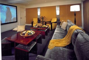 Contemporary Home Theater with can lights, Wall sconce, Carpet, Exposed beam, Crown molding, Standard height, six panel door