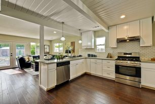 Contemporary Kitchen with Standard height, Casement, Built-in bookshelf, French doors, Exposed beam, can lights, Columns