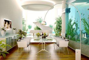 Contemporary Dining Room with Hardwood floors, Standard height, Columns, Paint, Full wall aquarium