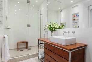 Contemporary 3/4 Bathroom with European Cabinets, can lights, linen and towel storage cabinet, Inset cabinets, Vessel sink