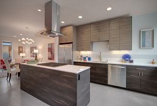 Contemporary Kitchen with One-wall, Large Ceramic Tile, Kitchen island, Undermount sink, Corian counters, European Cabinets