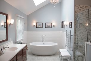 Contemporary Master Bathroom with Freestanding, Wall Tiles, Framed Partial Panel, Bathtub, Corian counters, Casement, Shower
