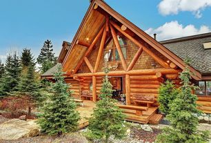Rustic Exterior of Home with Lodgepole siding, Private backyard, Private wooded setting, picture window, Lodge, Skylight