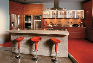 Contemporary Kitchen with European Cabinets, Undermount sink, High ceiling, Stainless steel counters, Paint 1, can lights