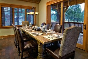 Craftsman Dining Room with Office star parsons chair with studs, High ceiling, Hardwood floors, Chandelier