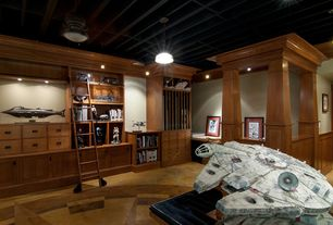 Craftsman Basement with High ceiling, Built-in bookshelf, Pendant light, Wainscotting, limestone floors, Exposed beam