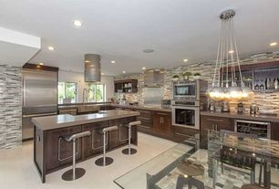 Contemporary Kitchen with double wall oven, Kitchen island, single dishwasher, L-shaped, Dupont - corian desert, Casement