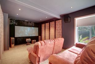 Eclectic Home Theater with Carpet, Pink recliners, Acoustic panel, Exposed beam, Window shade