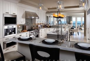 Contemporary Kitchen with Undermount sink, Paint, Complex marble counters, U-shaped, Wall Hood, Pendant light, warming oven
