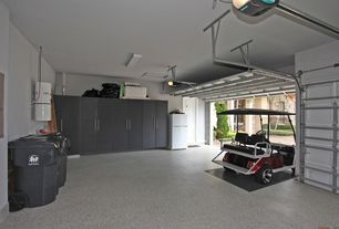 Traditional Garage with Garage storage cabinets, Garage floor coating, flat door, flush light, Standard height