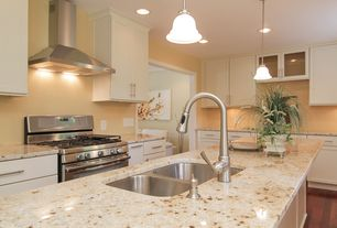 Modern Kitchen with MS International Colonial Gold Granite, Pendant light, Flat panel cabinets, L-shaped, Flush, Glass panel