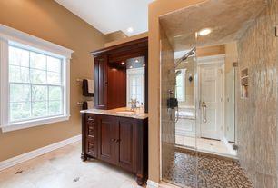 Traditional Master Bathroom with specialty door, drop in bathtub, Standard height, Shower, Bathtub, Flush, can lights