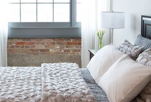 Contemporary Master Bedroom with West Elm 100% Organic Cotton Pintuck Duvet Cover and Shams, Room Essentials? Stick Lamp