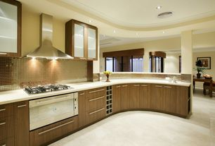 Contemporary Kitchen with Ikea Akurum Cabinet In Rockh Wood Effect Brown, L-shaped, Limestone counters, limestone tile floors