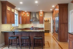 Craftsman Kitchen with Kitchen peninsula, Soapstone counters, Stone Tile, Granite Solid Surface Countertop in Deep Nocturne