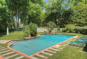 Contemporary Swimming Pool with exterior brick floors, Pathway, Fence