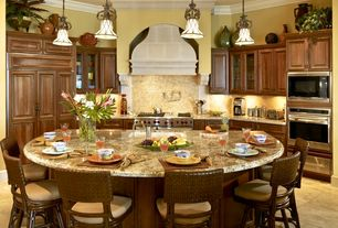 Traditional Kitchen with Wolf 6 Burners Gas Range GR486G, Ceramic Tile, Custom hood, Pendant light, Complex granite counters