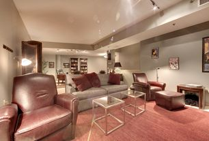 Traditional Home Theater with Standard height, Carpet, flush light