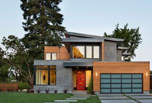 Contemporary Exterior of Home with BP Glass Garage Door, Pathway, Glass panel door, Cedar siding, Fence