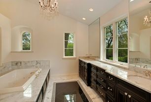 Traditional Master Bathroom with Arched window, MS International Absolute Black Granite Tile, Onyx counters, Double sink