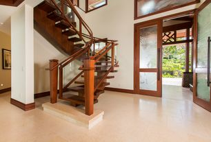 Modern Staircase with picture window, curved staircase, High ceiling, Hardwood floors
