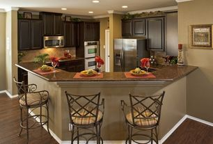 Mediterranean Kitchen with Standard height, built-in microwave, U-shaped, specialty door, Paint 1, Raised panel, can lights